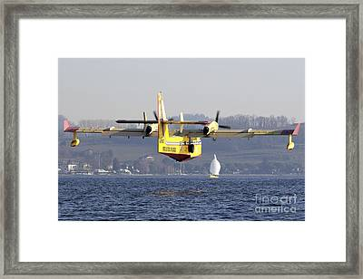 A Cl-415 Italian Fire Hunter Flying Framed Print by Luca Nicolotti