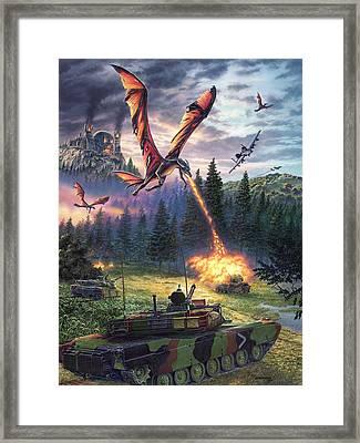 A Clash Of Worlds Framed Print by Stu Shepherd