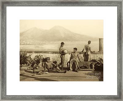 A Classical Scene In Tierra Del Fuego South America Framed Print by Wilhelm von Gloeden