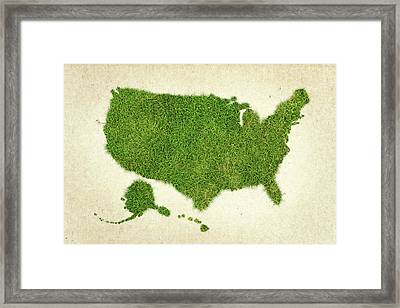 United State Grass Map Framed Print by Aged Pixel