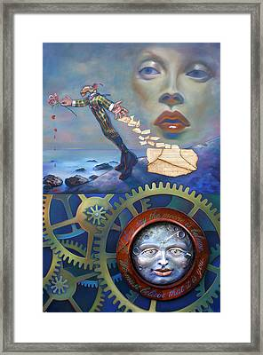 Man In The Moon Framed Print featuring the painting A Clockwerk Moone Is A Harsh Mistress by Patrick Anthony Pierson