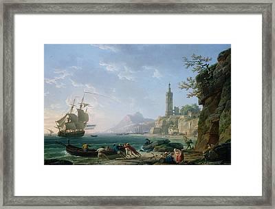 A Coastal Mediterranean Landscape Framed Print by Claude Joseph Vernet
