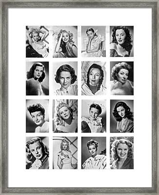 A Collage Of Movie Starlets Portraits Framed Print by Underwood Archives