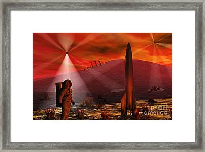 A Colony Being Established On An Alien Framed Print by Mark Stevenson