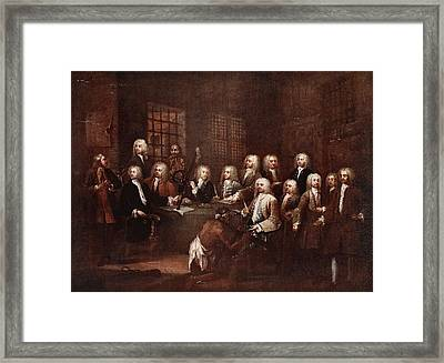 A Committee Of The House Of Commons Framed Print by William Hogarth