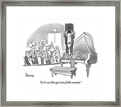 A Concert Pianist Hangs Upside Framed Print by John  Klossner