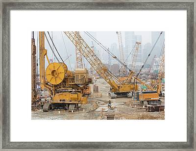 A Construction Site In Hong Kong Framed Print by Ashley Cooper