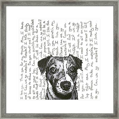 A Conversation With A Jack Russell Terrier Framed Print by Salvadore Delvisco