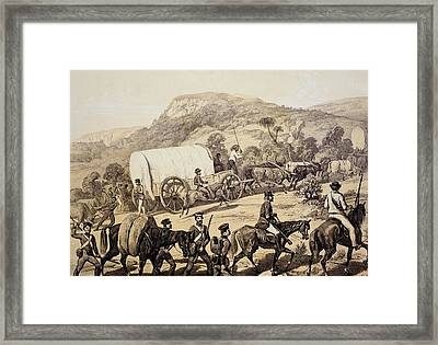 A Convoy Of Wagons Framed Print by English School
