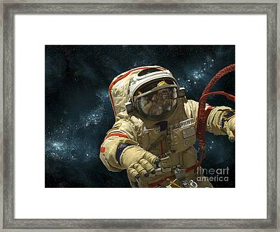 A Cosmonaut Against A Background Framed Print by Marc Ward