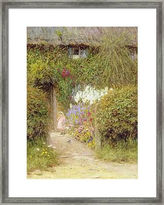 A Cottage At Redlynch Framed Print by Helen Allingham