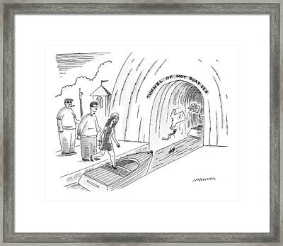 A Couple Are Seen Stepping Into An Amusement Park Framed Print by Mick Stevens