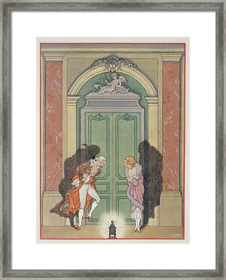 A Couple In Candlelight Framed Print by Georges Barbier