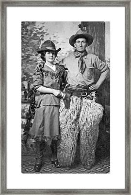 A Couple Poses In Western Gear Framed Print by Underwood Archives