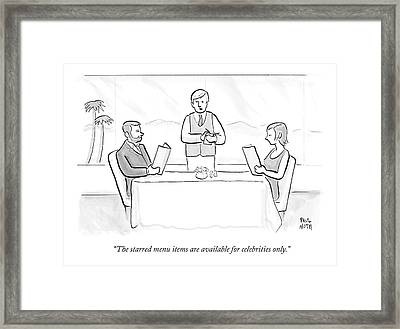 A Couple Sit At A Restaurant Table Framed Print by Paul Noth