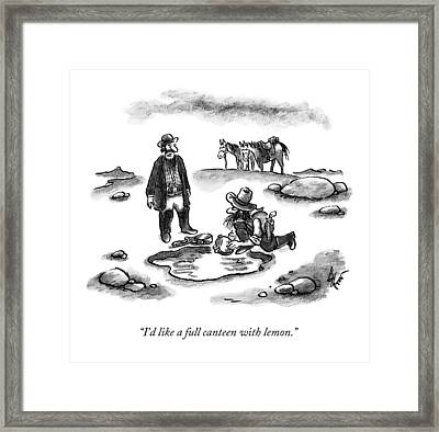 A Cowboy Speaks To Another Framed Print by Frank Cotham