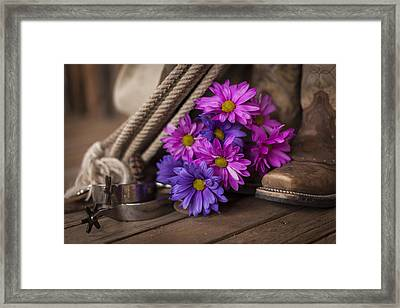 A Cowgirl's Flowers Framed Print by Amber Kresge