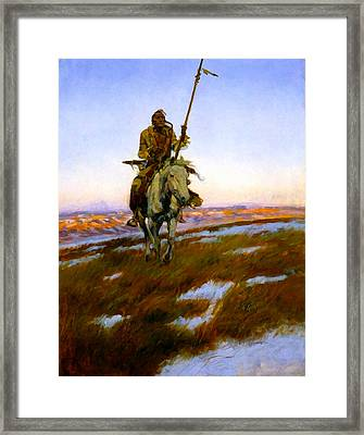 A Cree Indian Framed Print by Charles Russell