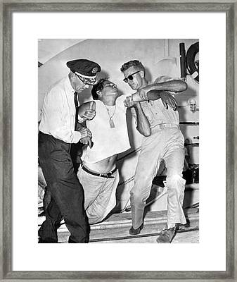 A Cuban Refugee Collapses Framed Print by Underwood Archives