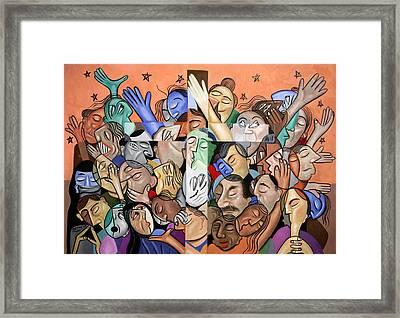 A Cubist Prayer One World One God Framed Print by Anthony Falbo