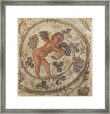 A Cupid Picking Grapes, Fragment Of Pavement From Carthage, Tunisia Mosaic Framed Print by Roman School