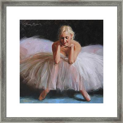 White Dress Framed Print featuring the painting A Dancer's Ode To Marilyn by Anna Rose Bain