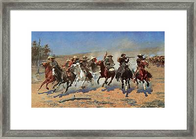 A Dash For The Timbers Framed Print by Frederic Remington