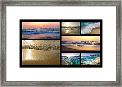 A Day At The Beach - Collage By Kaye Menner Framed Print by Kaye Menner