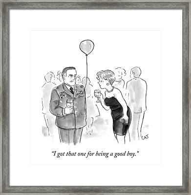 A Decorated Military Officer At A Cocktail Party Framed Print by Carolita Johnson
