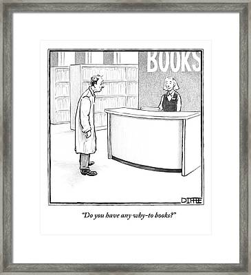 A Depressed Man Wallows At The Circulation Desk Framed Print by Matthew Diffee