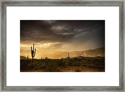 A Desert Monsoon Sunset  Framed Print by Saija  Lehtonen