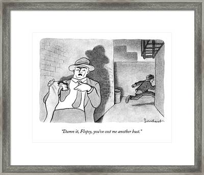 A Detective Opens His Jacket Pocket To Find Framed Print by David Borchart