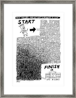 A Diagram Showing A Tangled Maze Framed Print by Edward Steed