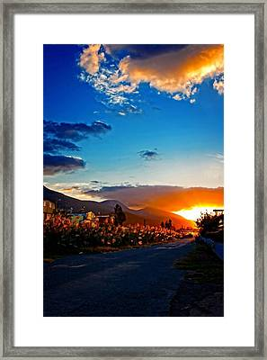 A Digitally Constructed Painting Of An Empty Country Lane At Sunset Framed Print by Ken Biggs