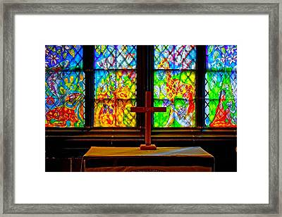 A Digitally Converted Painting Of Stained Glass Windows Framed Print by Ken Biggs