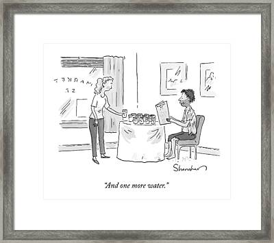 A Disheveled Man In A Restaurant Orders A Dozen Framed Print by Danny Shanahan