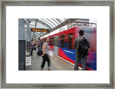A Docklands Light Railway Train Framed Print by Ashley Cooper