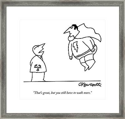 A Doctor Speaks To A Superhero With A Lightning Framed Print by Charles Barsotti