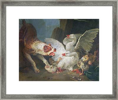 A Dog Attacking Geese, 1769 Oil On Canvas Framed Print by Jean-Baptiste Huet