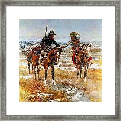 A Doubtful Handshake Framed Print by Charles Russell