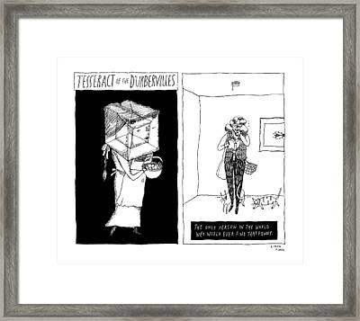 A Drawing Of Tesseract Of The D'urbervilles Framed Print by Liana Finck