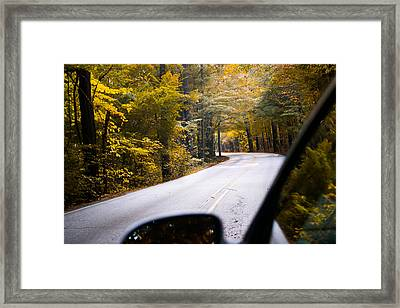 A Drive Through Autumn Framed Print by Shelby  Young