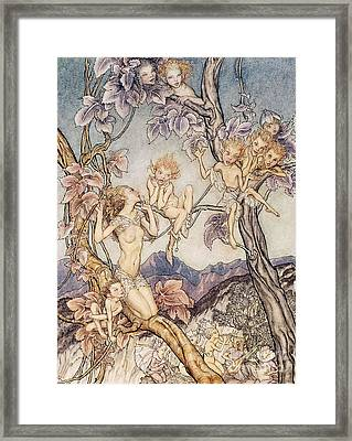 A Fairy Song From A Midsummer Nights Dream Framed Print by Arthur Rackham