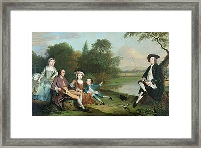 A Family Of Anglers, 1749 Oil On Canvas Framed Print by Arthur Devis