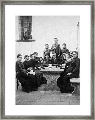 A Family Wine Gathering Framed Print by Underwood Archives