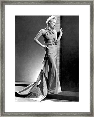 A Fashion Shot From France Showing An Evening Dress With Its Dou Framed Print by -