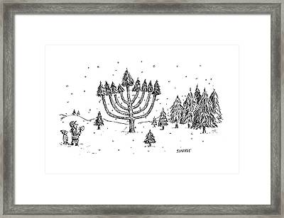 A Father And Child See A Menorah-shaped Christmas Framed Print by David Sipress