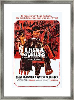 A Fistful Of Dollars, Us Poster Art Framed Print by Everett