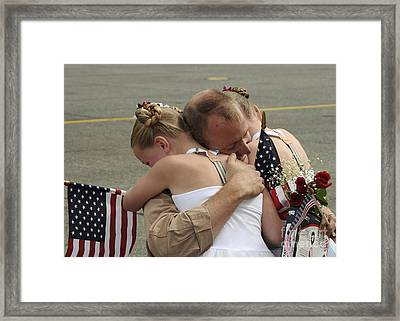 A Flight Engineer Is Greeted Framed Print by Stocktrek Images