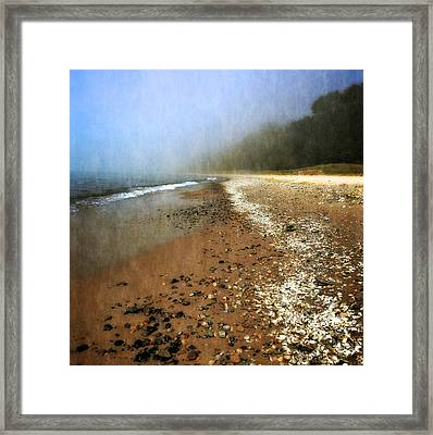 A Foggy Day At Pier Cove Beach 2.0 Framed Print by Michelle Calkins